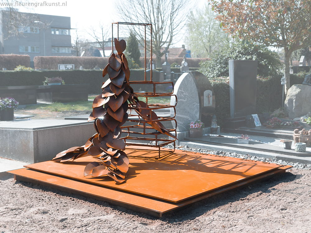 weathering steel memorial sculpture in the Netherlands